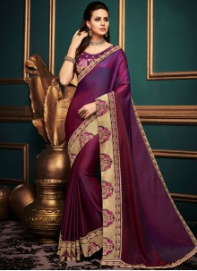 Art Silk Purple Embroidered Traditional Saree