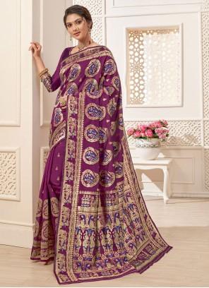 Art Silk Purple Jacquard Work Traditional Designer Saree