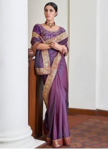 Art Silk Purple Lace Traditional Designer Saree