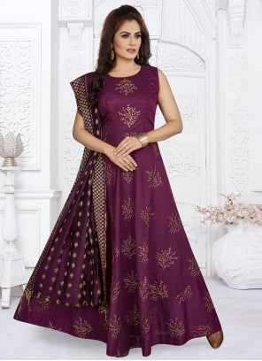Art Silk Purple Readymade Suit