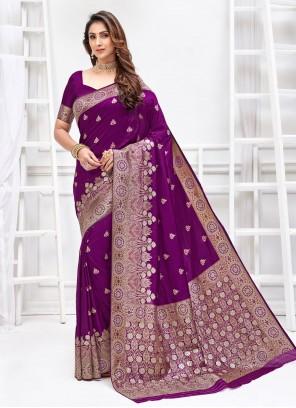 Art Silk Purple Weaving Traditional Designer Saree
