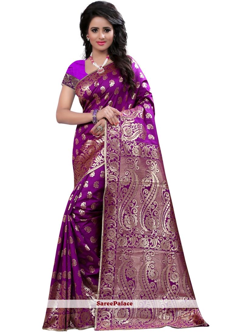 Art Silk Purple Weaving Work Traditional  Saree