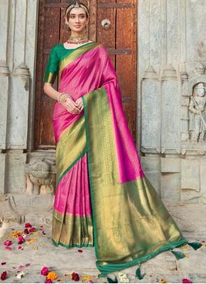 Art Silk Rani Weaving Traditional Designer Saree