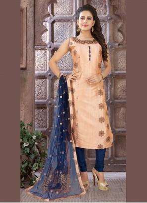 Art Silk Readymade Peach Salwar Kameez
