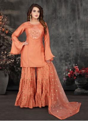 Orange Fancy Work Art Silk Readymade Suit