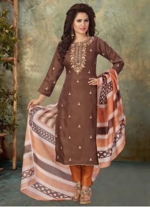 Brown Fancy Work Art Silk Readymade Suit