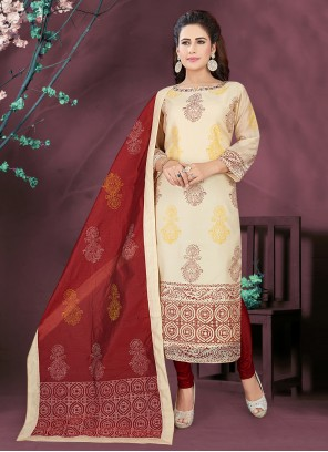 Art Silk Readymade Suit in Cream