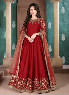 Art Silk Red Anarkali Suit