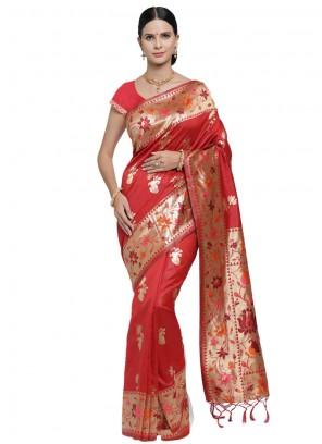 Art Silk Red Designer Saree
