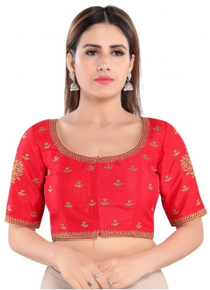 Art Silk Red Embroidered Blouse