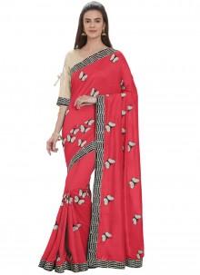 Art Silk Red Embroidered Designer Traditional Saree