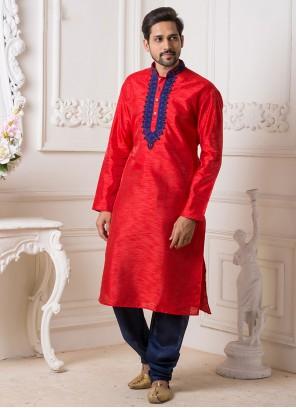 Art Silk Red Embroidered Kurta Pyjama