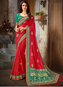 Art Silk Red Embroidered Trendy Saree