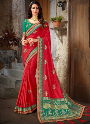 Art Silk Red Embroidered Trendy Saree