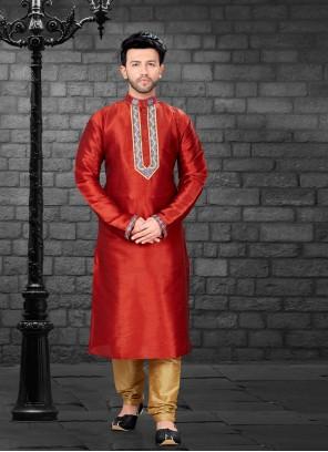 Art Silk Red Kurta Pyjama