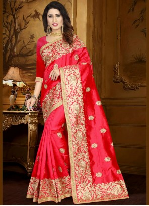 Art Silk Red Lace Work Designer Traditional Saree