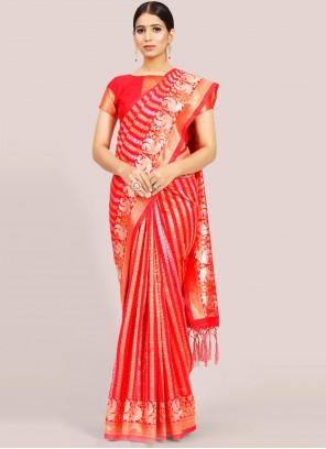 Art Silk Red Traditional Designer Saree