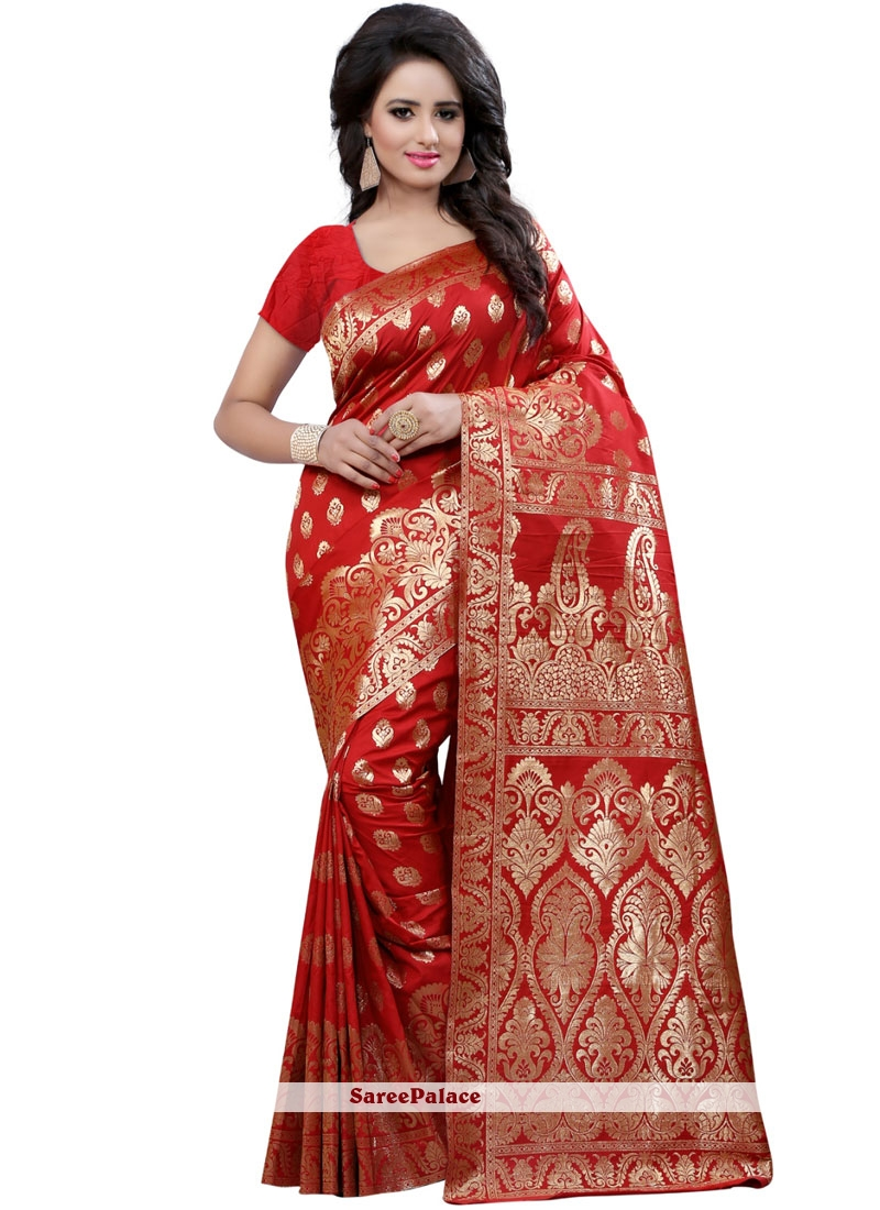 Art Silk Red Weaving Work Traditional Designer Saree