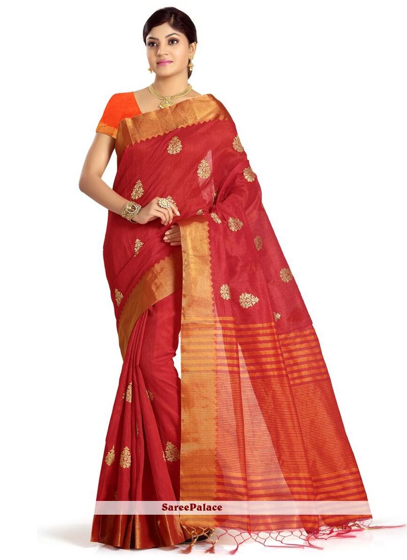 Art Silk Red Weaving Work Traditional  Saree