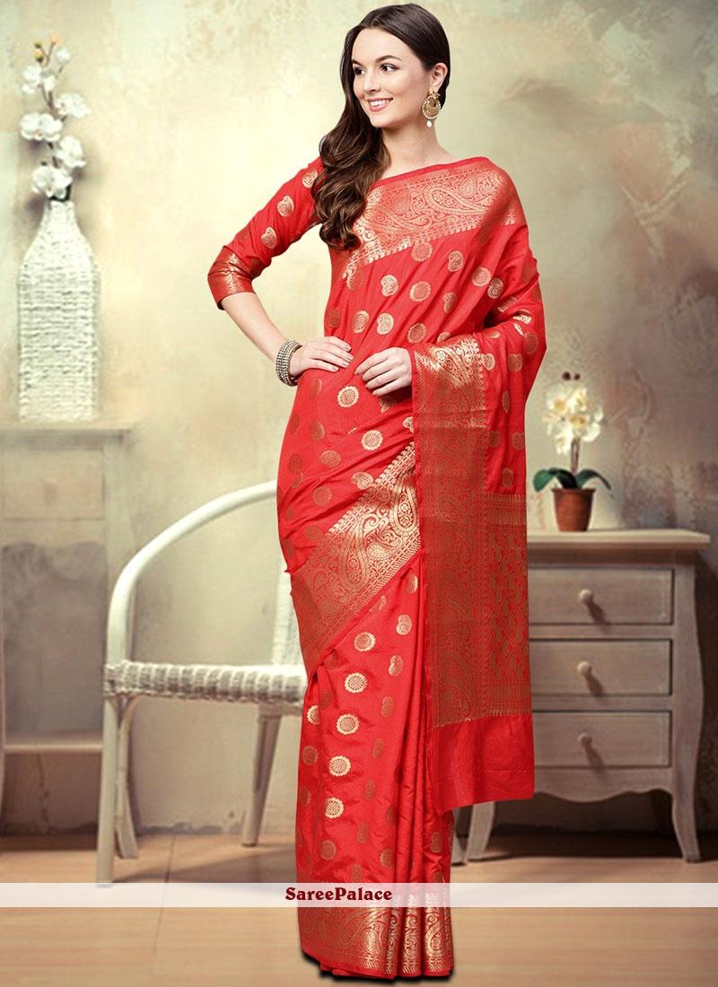 570762af42 Buy Art Silk Red Woven Designer Traditional Saree Online