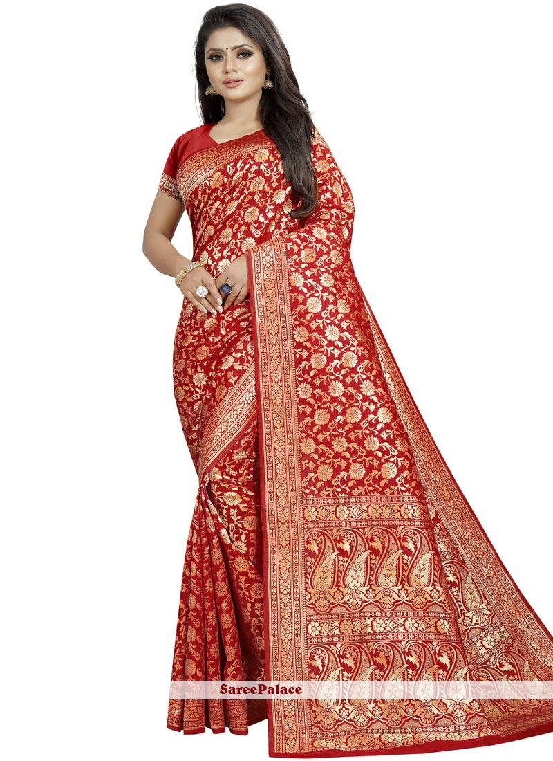 537be97c42 Buy Art Silk Red Woven Traditional Saree Online