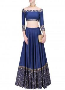 Blue Art Silk Resham A Line Lehenga Choli