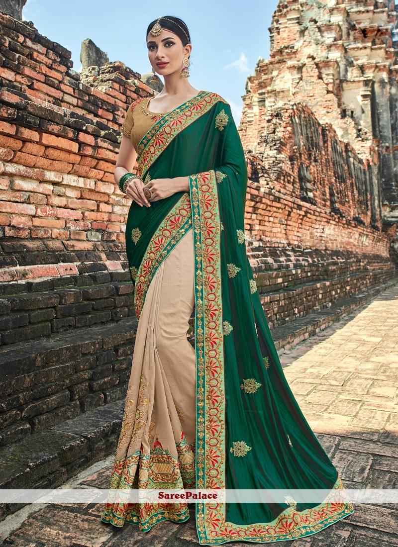 Art Silk Resham Designer Half N Half Saree in Beige and Green