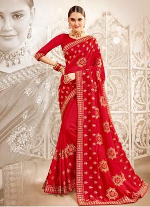 Art Silk Resham Designer Saree in Red