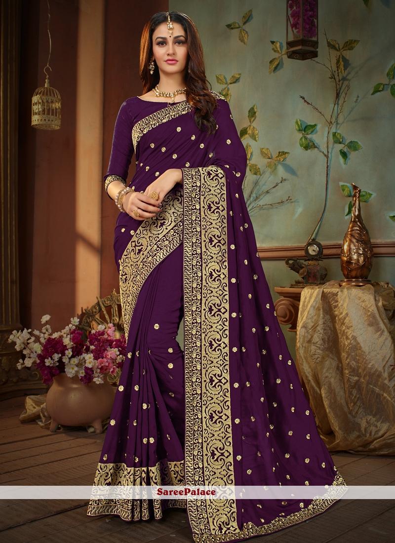 Art Silk Resham Designer Traditional Saree in Purple