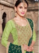 Art Silk Resham Green Churidar Designer Suit