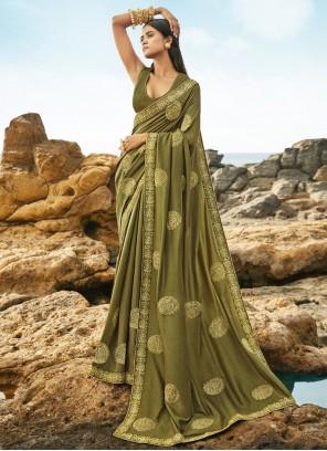 Art Silk Resham Green Traditional Designer Saree