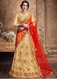 Art Silk Resham Lehenga Choli in Beige