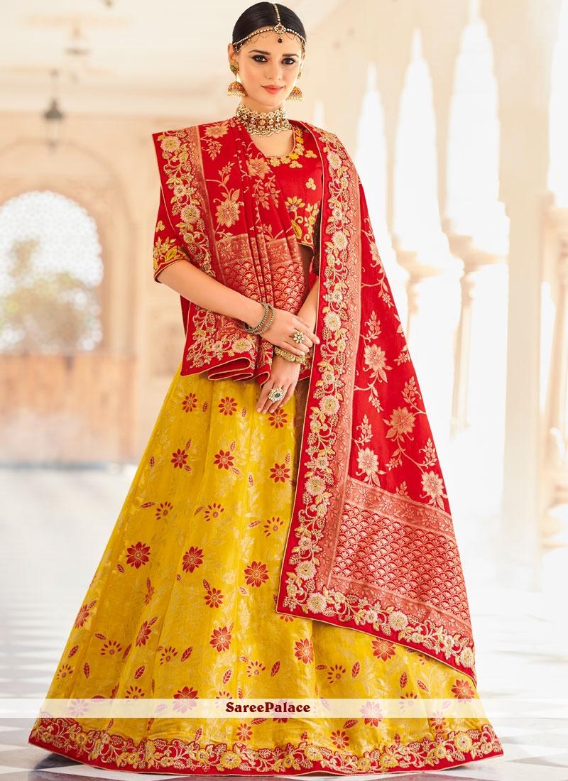 Art Silk Resham Lehenga Choli in Red and Yellow