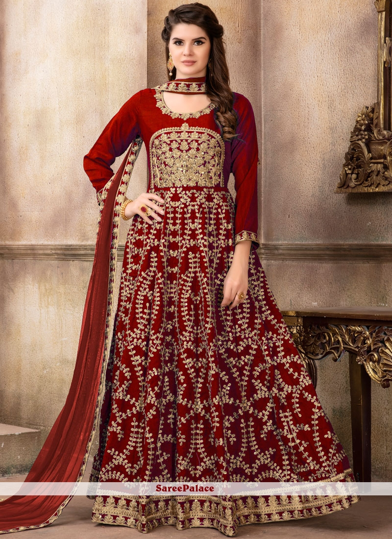 Art Silk Resham Maroon Floor Length Anarkali Suit