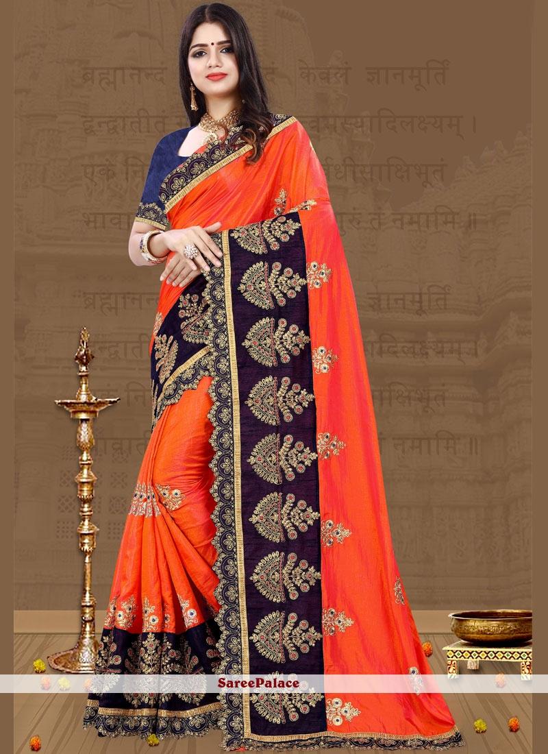 Art Silk Resham Orange Designer Traditional Saree