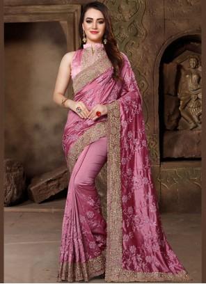 Art Silk Resham Pink Designer Traditional Saree