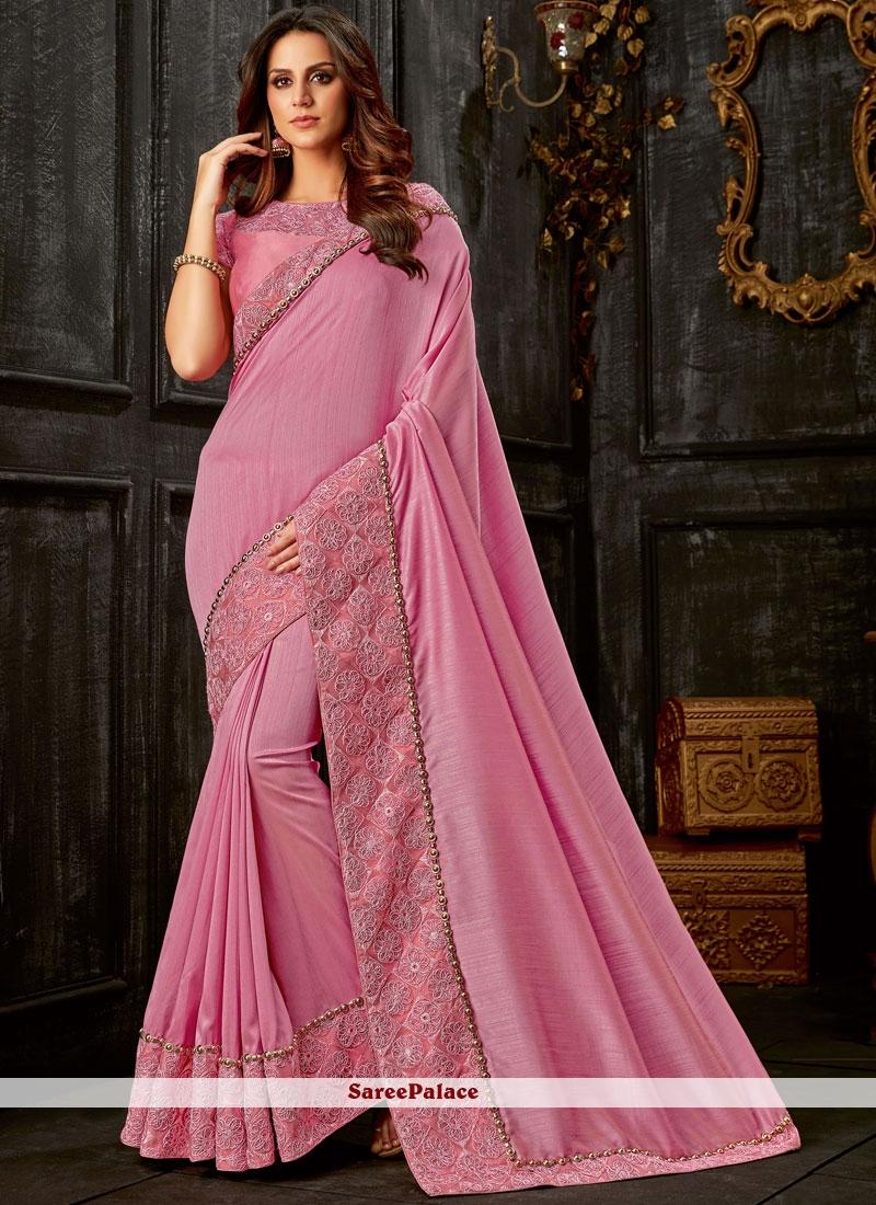 Art Silk Resham Pink Traditional Designer Saree