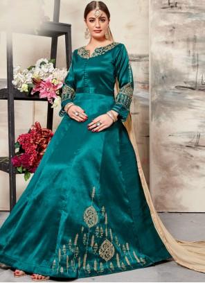 Art Silk Resham Sea Green Floor Length Anarkali Suit