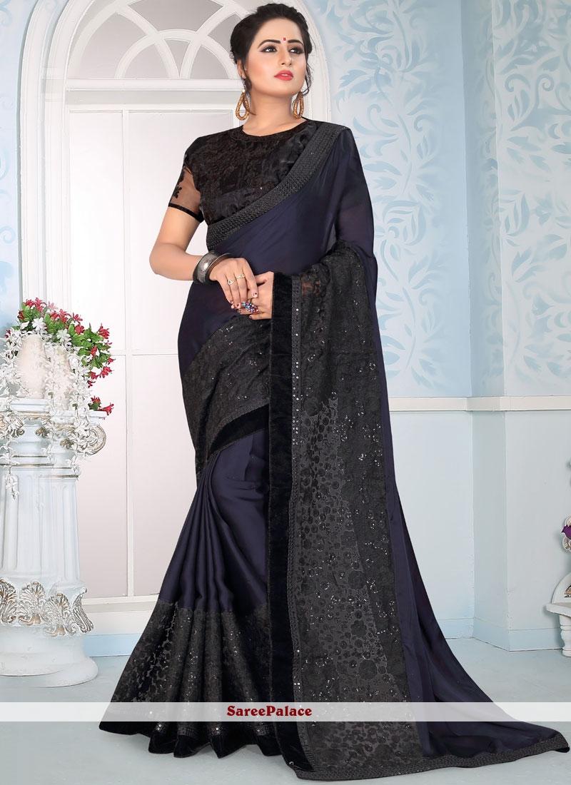 Blue Art Silk Resham Traditional Designer Saree