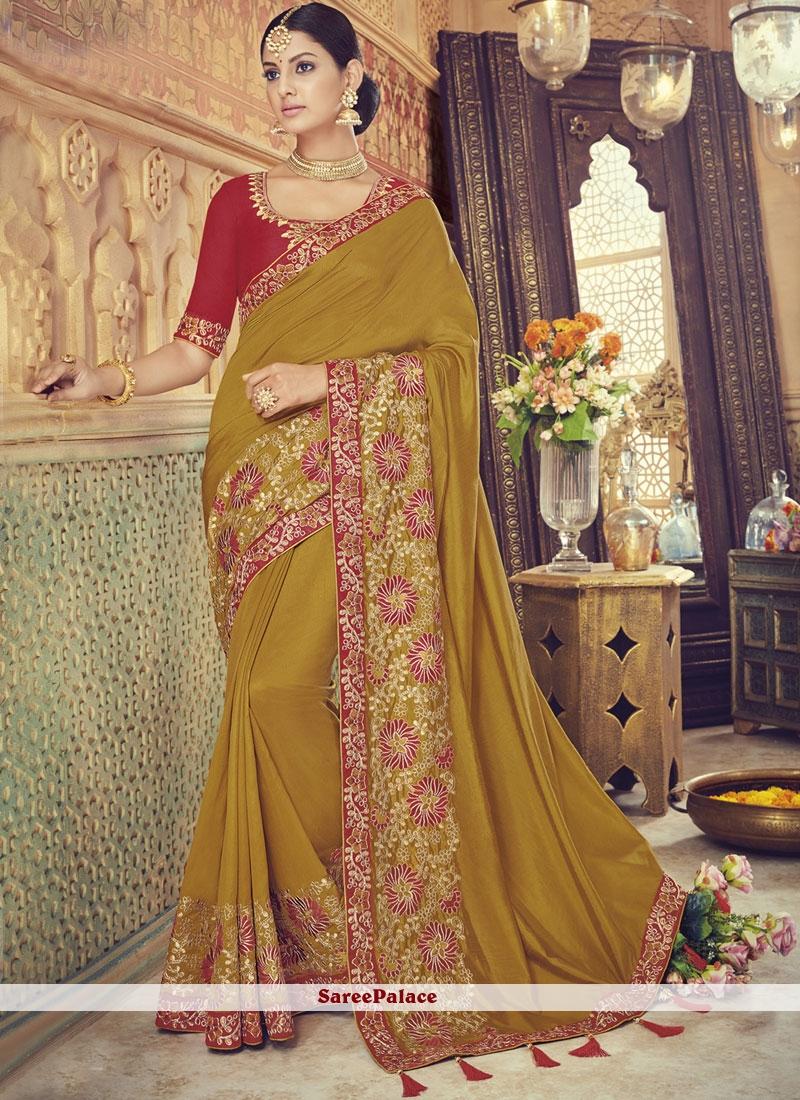 Yellow Art Silk Resham Traditional Designer Saree