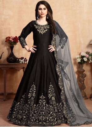 Art Silk Salwar Suit in Black