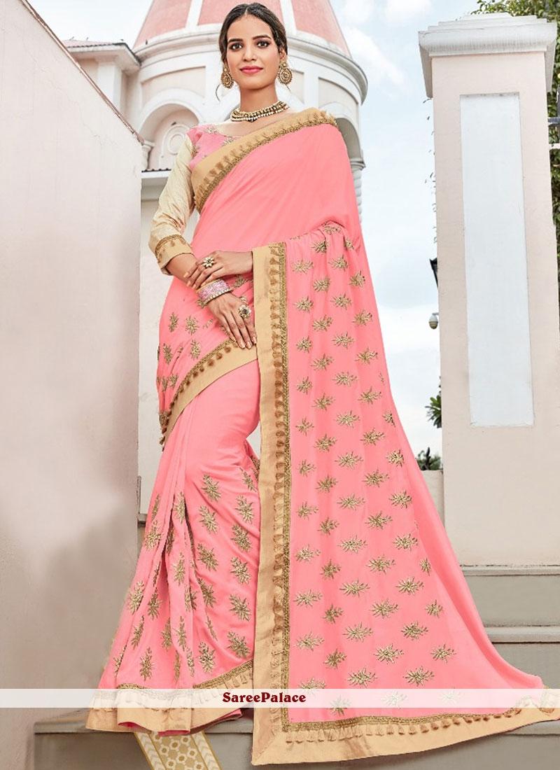 Pink Art Silk Sangeet Classic Saree