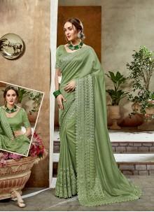 Olive Green Art Silk Sangeet Designer Saree