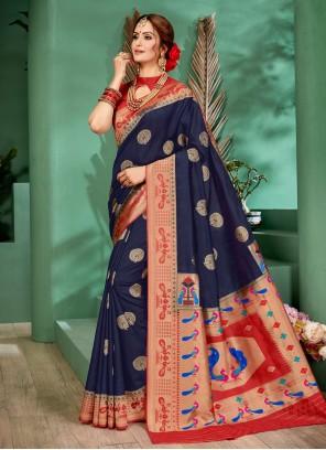 Art Silk Saree in Navy Blue
