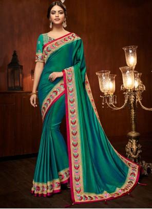 Art Silk Sea Green Embroidered Traditional Designer Saree