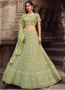 Art Silk Sea Green Lace Lehenga Choli