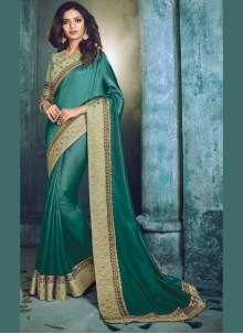 Art Silk Sea Green Patch Border Traditional  Saree