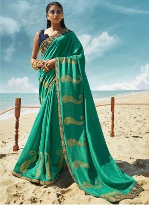 Art Silk Sea Green Thread Classic Saree