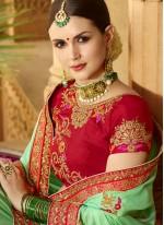 Art Silk Sea Green Traditional Saree