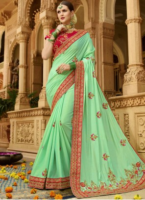 Art Silk Sea Green Traditional Saree